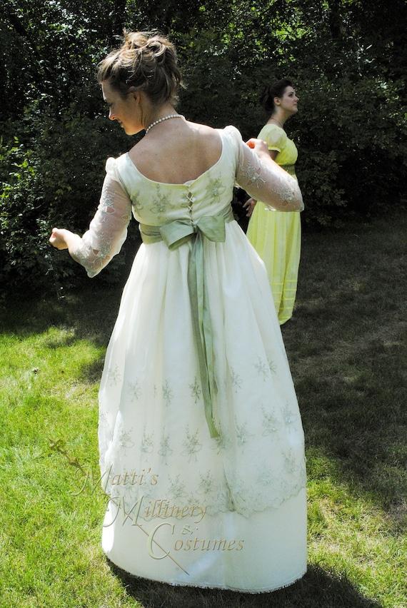 Sage Ivory Regency Edwardian Jane Austen Ball gown Empire formal Dress in organza & taffeta