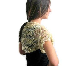 Elegant Shrug,  Bolero,  in Gold,  Spring Fashion, Trendy,Knitted