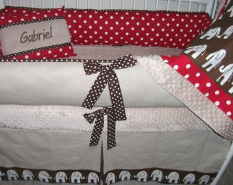 Elephant red polka dot Bumper Pad Baby Crib Set DEPOSIT Down payment ONLY read details