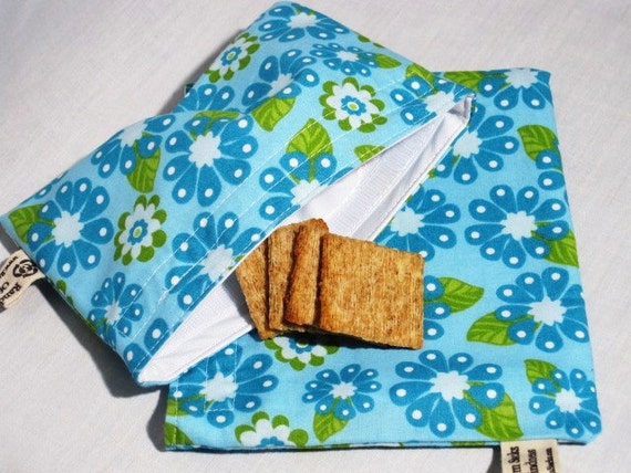 Teal and Turquoise and Snack Bag Set, Reusable, Earth Savvy