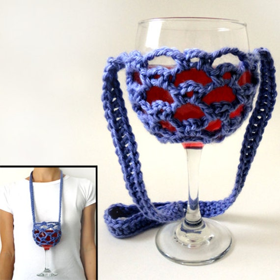 Free Pattern Crochet Wine Glass Holder : Lanyard Wine Glass Holder PDF Crochet Pattern Instant