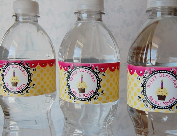 Custom Design - 64 Water Bottle Labels - completely custom design included. Great for summer parties, birthdays, showers, and other events.