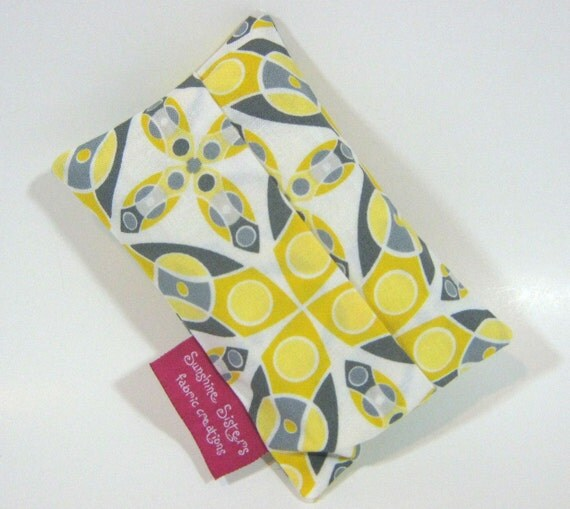 Tissue Pouch- Travel Tissue Case using Silent Cinema Iris Yellow fabric- Gray, Ivory, and Yellow Abstract