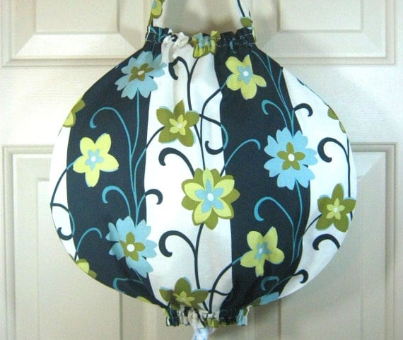 Grocery Bag Holder- Unique Round Design- City Blooms Floral Stripes Graphite - Plastic Bag Holder