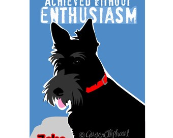 Scottish Terrier Art Print Wall Decor with Motivational Quote by Ralph Waldo Emerson