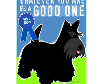 Scottish Terrier Art Print Wall Decor with Abraham Lincoln Inspirational Quote