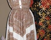 Vintage 70s polyester sleeveless dress brown paisleys on white M to L