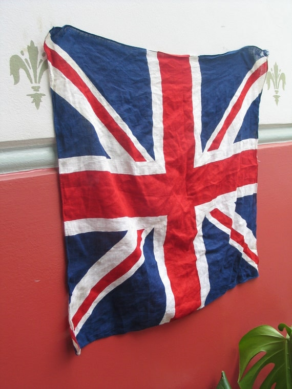 Well-loved vintage union jack flag / scarf / necktie / wall hanging
