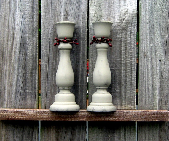 RESERVED FOUR Prim Taper Candle Holders, Mudstone Tan with Red Pip Berries