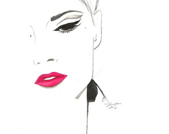 Print from original watercolor and pen fashion illustration by Jessica Durrant titled, The Cat's Eye