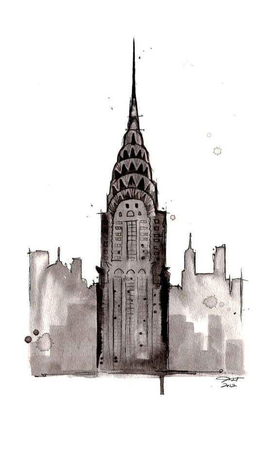 Watercolor study of NYC, Chrysler Building by Jessica Durrant