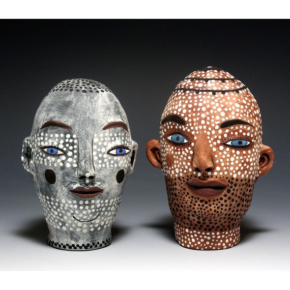 Salt and Pepper Shakers - Pair of Heads - Herb Shakers