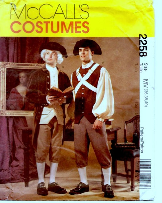 McCalls Sewing Pattern, Costumes, Mens Size 36, 38, 40, Revolutionary Costume