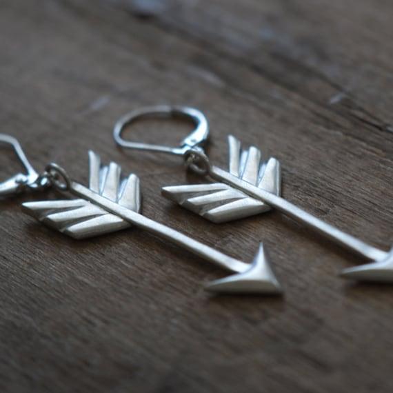 Arrow Earrings, Sterling Silver, Handcrafted, Tribal, Arrows, Geometric, Chevron, Triangle.