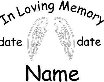 In Loving Memory angel wings decal personalized for you