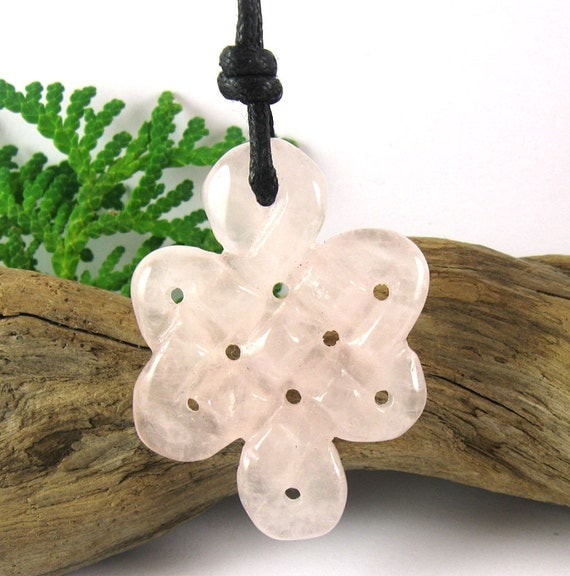 Celtic Knot Nursing Necklace - Rose Quartz Mother's Necklace