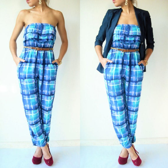 SALE...STRAPLESS Jumpsuit Vintage 80's Abstract Geometric Tie Dye Jumpsuit / Ruffle Top / Watercolor Print / Tapered Pants