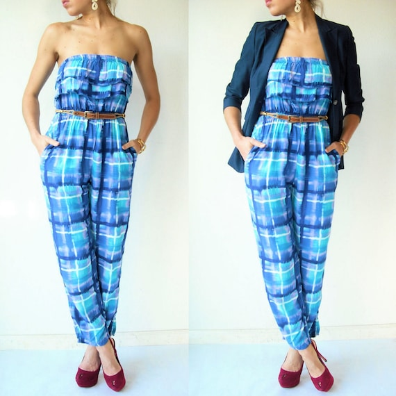 STRAPLESS Jumpsuit Vintage 80's Abstract Geometric Tie Dye Jumpsuit / Ruffle Top / Watercolor Print / Tapered Pants