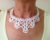 Instant Download Crochet Pattern,  Tutorial  Crochet Necklace Pattern, Lace Necklace