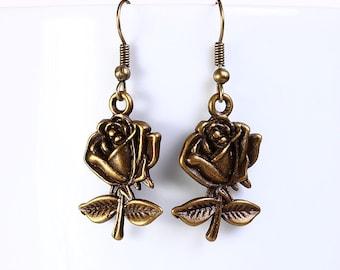 Sale Clearance 20% OFF - Antique brass rose drop dangle earrings (550)