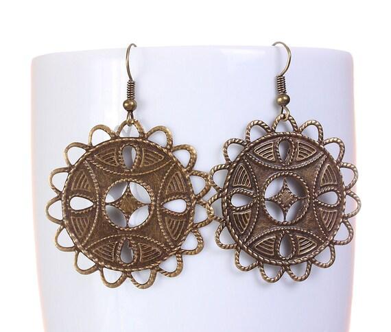 Sale Clearance 20% OFF - Antique brass filigree drop earrings (576)