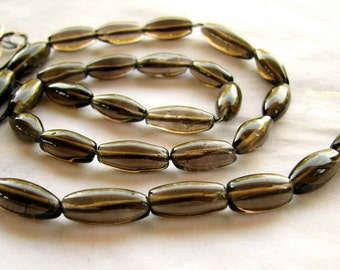 Smoky Quartz Smooth Rice Nuggets, 17 inch strand, 11mm to 18mm (8w10)