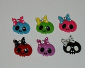 Girly skull cabochons - 5 pcs