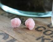 Ruffle Rose Earrings // Baby Pink