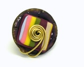 20% off Spring Sale - Silver Wire Wrapped Rainbow Button Ring - Coconut button