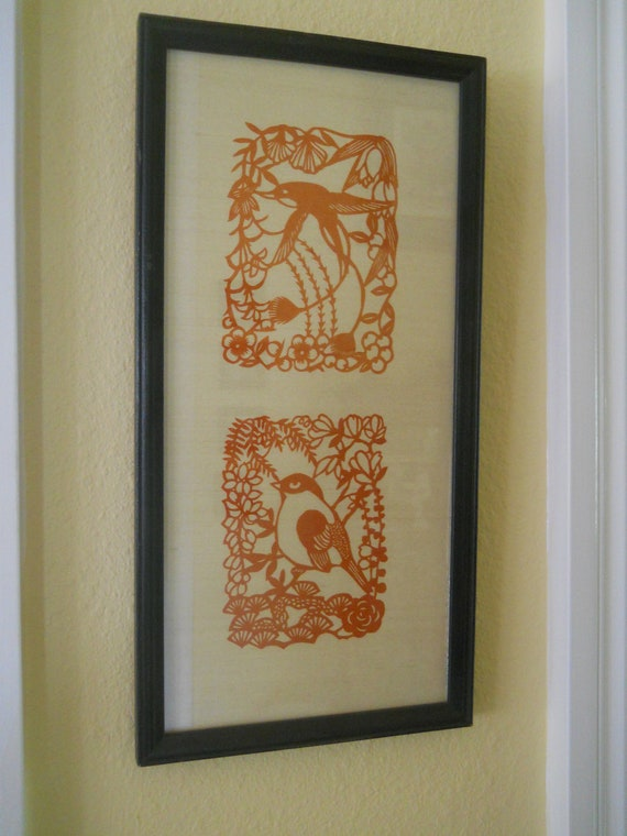 Bird Cut Out Silhouettes vintage framed piece