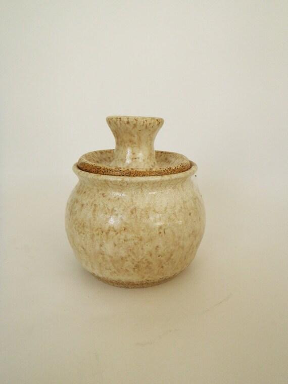 White Stoneware Sugar Bowl