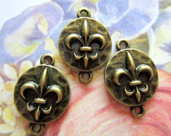 12 Bronze Fleur De Lis  jewelry connectors jewelry charms antique bronze pendants  19mm 13mm SR8-4