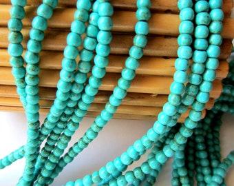 70 Turquoise beads 4mm crackled howlite gemstone