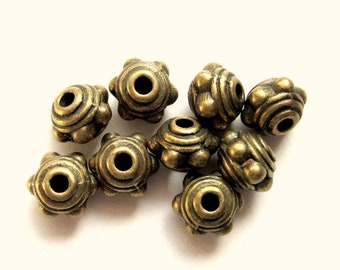 30 Metal beads antique bronze spacer focal jewelry making supplies 7mm x 5mm MLF101