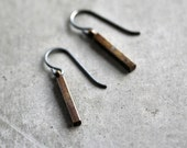 Simple Brass and Sterling Earrings, Antiqued Brass Oxidized Sterling Silver Minimalist Rustic Boho Earrings