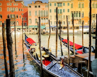 Venice Gondola Photo, Grand Canal Photograph Italy Photography Italian Colors San Marco Rialto Wall Art ven50