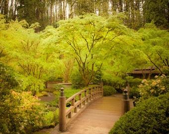 Japanese Garden Photograph Spring Photo Zen Buddhism Print Green Trees Wooden Bridge Fine Art Print  nat69