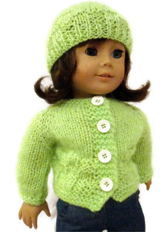 Lime Green Hat and Sweater Set American Girl Doll