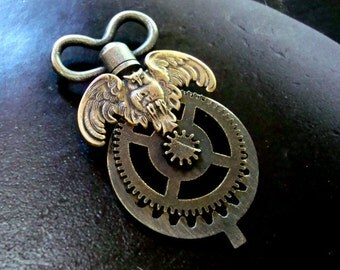 Steampunk Geared and Key Owl Pendant, Will drill bottom to add embellishment, Please advise