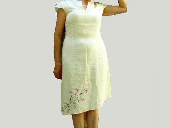 Vintage Summer Linen   Dress -  Embroidered - OOAK