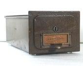 SALE Vintage Metal File Box