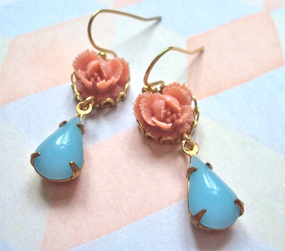 Pink Rose and Turquoise Jewel earrings - dainty danglys