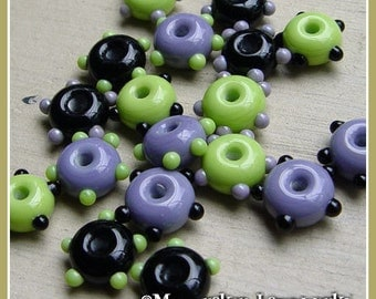 Witch's Brew Mix Wheelies Lampwork Beads