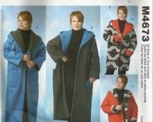 Reversible Loose Fitting Fleece Coat or Jacket Easy McCalls Pattern M4673 Plus Sizes