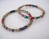 Boho Enamel and Brass Bangle Bracelet Duo