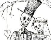 Skeleton Art, Day of the Dead, giclee print, October wedding, skeleton bride, Dios De Los muertos, Halloween wedding