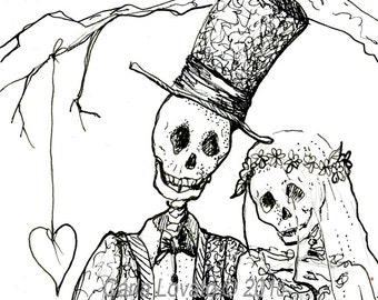 Skeleton Art, Day of the Dead, October Wedding, Skeleton bride, Dios De Los muertos, Halloween wedding, giclee print