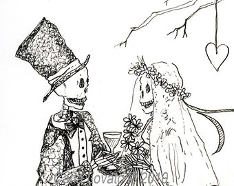 Skeleton wedding, 3 cards, Day of the dead, greeting cards, gothic valentine,
