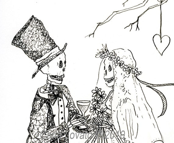 Skeleton Wedding Day of the Dead  blank card