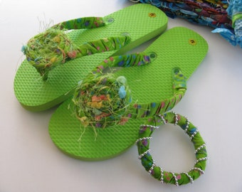 Lime Green Decorated Flip Flops with Matching Bracelet